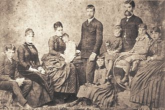 Prudente de Morais - Morais Family, from left to right: Prudente Filho, Maria Amélia, Adelaide (wife), Paula, Gustavo, Carlota, Maria Teresa, Prudente, Antônio and Julia, c. 1875.