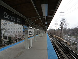 Central station (CTA Purple Line) - Image: Purple Line Central Station