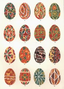 Illustrations of designs of 16 Ukrainian Easter eggs