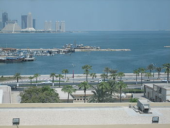 English: Looking north over the Corniche, Qata...
