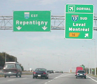 Quebec Autoroute 13 - Exit to A-13 from A-640