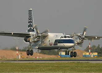 RAF-Avia - The Antonov An-26 is the backbone of the RAF-Avia fleet. Here one of the airline's An-26s is seen landing at Prague Ruzyně Airport (September 2005)