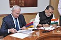 Radha Mohan Singh and the Armenian Agriculture Minister, Mr. Sergo Karapetyan signing an agreement on cooperation in the field of agriculture sector between India and Armenia, in New Delhi.jpg