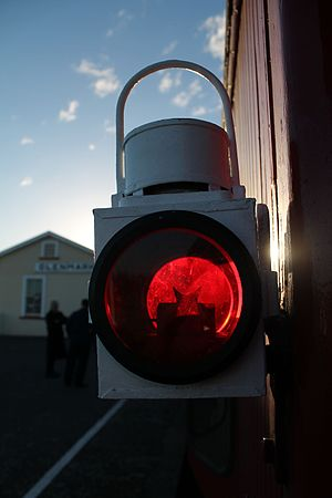 Railway preservation in New Zealand - NZR Lamp on the Weka Pass Railway.