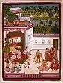 Rajastan, maharaja di kota che ascolta musica e guarda danze, corte di rajput a kota, 1820 ca.jpg