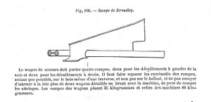 "William Stroudley - Plan view of re-railing ramp: ""The rescue wagon must carry four ramps, two for derailments on the left and two for those on the right. It is necessary, wherever possible, to place the edges of the ramps on the actual sleepers rather than the ballast, and do not try to draw more than two wagons at a time, for fear of breakages. Ramps for wagons weigh 35 kilos and those for engines 80 kilos."""