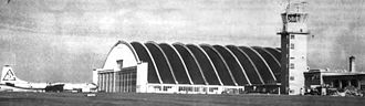 Ellsworth Air Force Base - Rapid City Air Force Base B-36 Hangar. Note 28th Bomb Wing B-36 with SAC Tail Code Triangle-S, Photo taken prior to 1953 when tail codes were eliminated by SAC