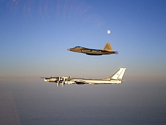 Interceptor aircraft - An F-22 air superiority fighter intercepting a Russian Tu-95 near Alaska.