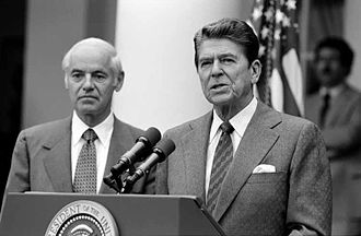 Domestic policy of the Ronald Reagan administration - President Reagan speaks about the strike during a press conference in the White House Rose Garden. Reagan fired 11,345 strikers who did not return to work.