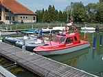 Red police boat in Marina of Port of Fonyód, 2016 Hungary.jpg