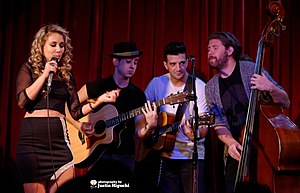 Haley Reinhart - Reinhart performing with Casey Abrams, Mark Ballas, and Dylan Chambers at Room 5 Lounge in Los Angeles, 2014