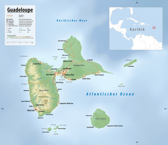 Reliefkarte von Guadeloupe