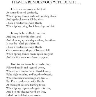 """Alan Seeger - """"I Have a Rendezvous with Death"""" by Alan Seeger (screenshot featuring page 164 of book Poems, hosted by amazon.com)"""