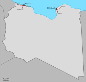 Italian Libya Railways - The five railways in Italian Libya.