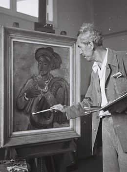 Reuven Rubin in his studio 1946.jpg