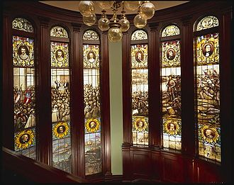 Rhodes Hall - The famed Rhodes Hall windows depict the birth of the Confederacy