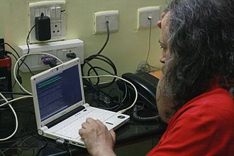 Richard Stallman - Stallman using his Lemote machine at Indian Institute of Technology Madras, Chennai