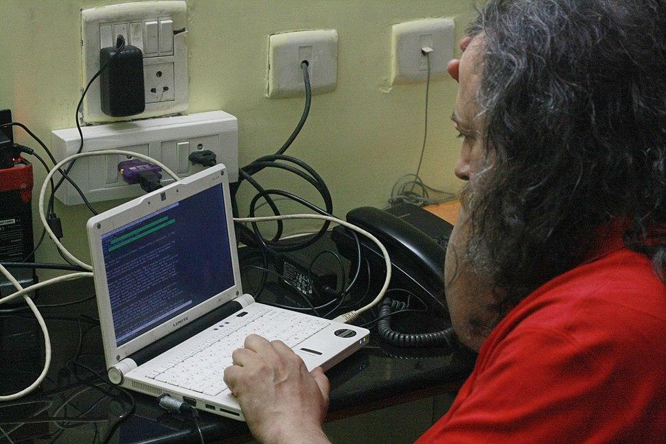 Richard Matthew Stallman working on his Lemote Machine