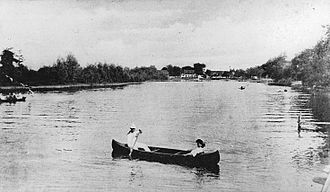 Chateauguay River - Canoeing on the river in Châteauguay, Quebec, 1910