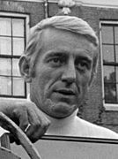 Black-and-white picture of Rod McKuen looking far away.