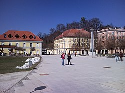 Spa Square (Zdraviliški trg), the central square in Rogaška Slatina