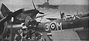 Royal Air Force Spitfires on USS Wasp (CV-7), in May 1942