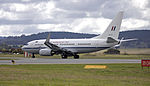 Royal Australian Air Force (A36-002) Boeing 737-7DF BBJ taking off on the main runway at the Canberra Airport (4).jpg