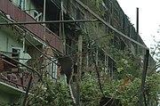 Large, severely-damaged building