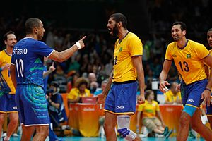 Sérgio Santos - Sérgio Santos with team mates Wallace de Souza, Maurício Souza during match with France at 2016 Olympics in Rio.