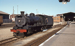 South African Class 15 4-8-2 - No. 1566, reboilered and reclassified to Class 15AR, Port Elizabeth, 3 April 1978