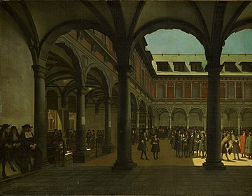 Courtyard of the Amsterdam Stock Exchange (Beurs van Hendrick de Keyser in Dutch), the world's first formal stock exchange. The Amsterdam Stock Exchange was the leading centre of global securities markets in the 17th century. SA 3025-De binnenplaats van de Beurs van Hendrick de Keyser.jpg