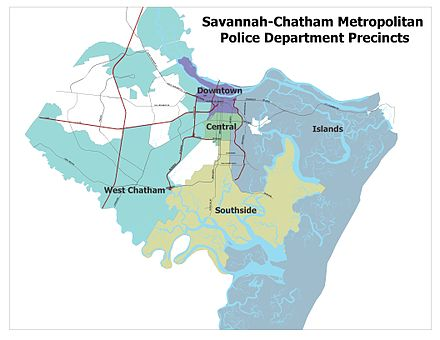 Map showing precincts of Savannah-Chatham Metropolitan Police Department. SCMPD Precincts.jpg