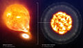 SN 2006X, before and after the Type Ia Supernova explosion (artist's impression).jpg