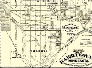 Saint Anthony Park, Saint Paul - Map of Saint Paul, including Saint Anthony Park, in 1874.