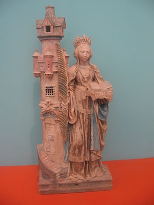 Saint Barbara - Saint Barbara and her tower, French, (Villeloup, Aube) ca 1520–30 polychromed limestone