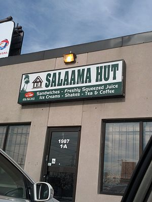 Somali diaspora - Salaama Hut restaurant at a Somali strip mall in Toronto.