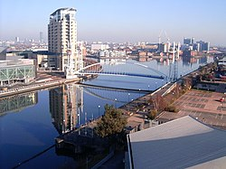 Salford Quays from south bank of MSC, 2008.jpg