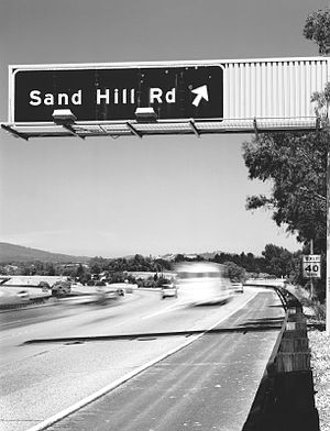 Venture capital - A highway exit for Sand Hill Road in Menlo Park, California, where many Bay Area venture capital firms are based
