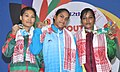 Saraswati Rout (INDIA) Gold, Fullapati Chakama (BANGLADESH) receiving 2nd position and Mohideen Umeira (SRI LANKA) receiving 3rd positing in 58 kg women weight lifting category, at the12th South Asian Games-2016.jpg