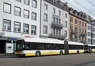 Trolleybuses in Schaffhausen - Hess Swisstrolley no. 105 outside Schaffhausen railway station, 2012.