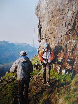 Adventure racing - Preparing for the climbing section at an adventure race (Adrenaline Rush) in Scotland.