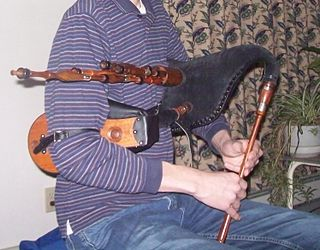 Scottish smallpipes type of bellows-blown bagpipe
