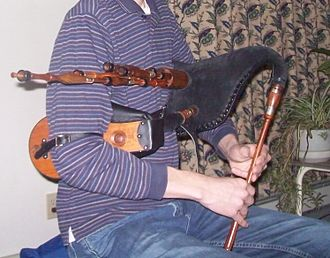 Scottish smallpipes - A set of Cocobolo Scottish Smallpipes with horn mountings, made in 2008 by Ebert Jones