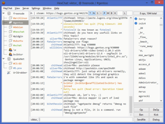 Internet Relay Chat - A screenshot of HexChat, an IRC client for GTK environments.