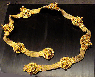Tillya Tepe - Golden belt, with depictions of Dyonisos (or the syncretic Iranian goddess Nana / Nanaia) riding a lion. Tomb IV