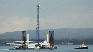 Ormonde Wind Farm - The SeaJack installation vessel, Belfast Lough, 30 May 2011 en route from Harland and Wolff
