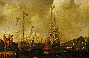 Sebastian Castro (painter) - Harbour Scene, Spanish Ships Approaching a Jetty