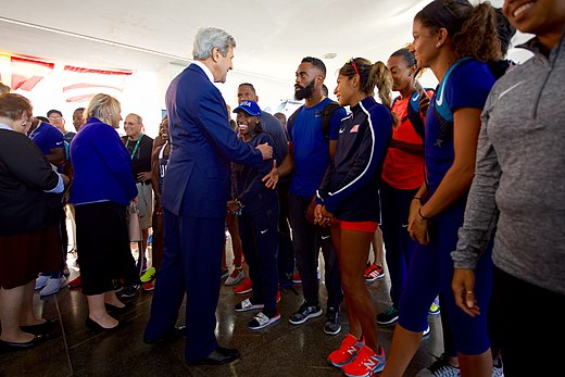 Secretary Kerry greets members of Team USA in Rio de Janeiro (28682411292).jpg