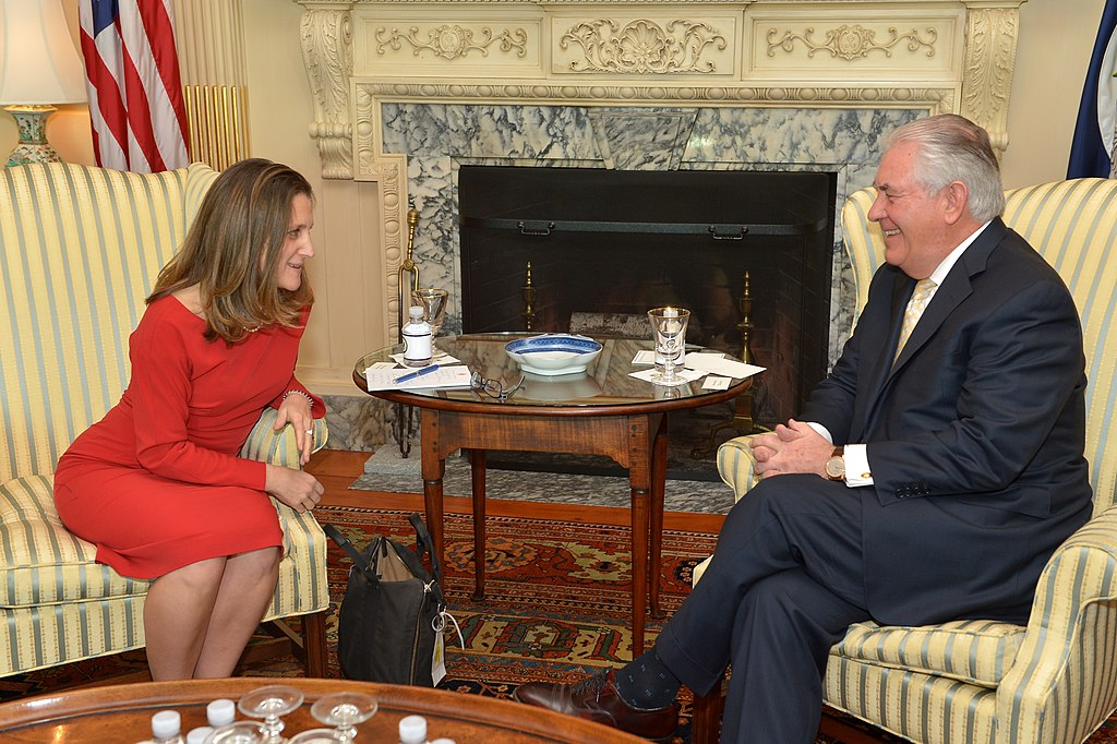 Secretary Tillerson Meets With Canadian Foreign Minister Freeland in Washington (32405077340).jpg