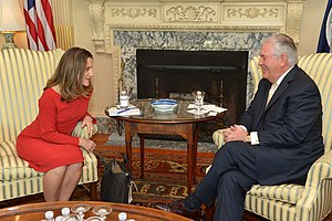 Chrystia Freeland - Freeland meeting with U.S. Secretary of State Rex Tillerson in February 2017.